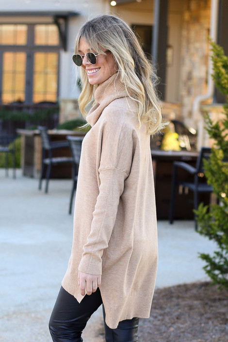 Model wearing the Soft Knit Turtleneck Tunic in Camel from Dress Up Side View