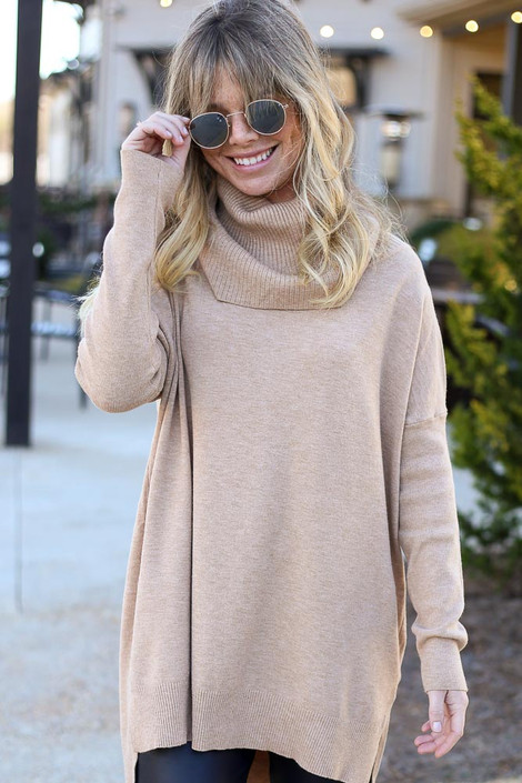 Model wearing the Soft Knit Turtleneck Tunic in Camel from Dress Up Front View