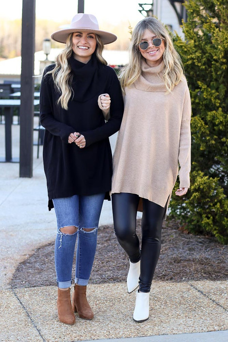Black - Soft Knit Turtleneck Tunic