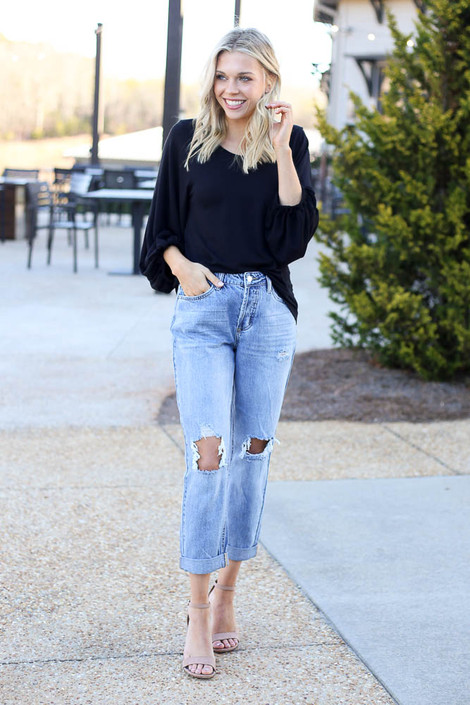 Medium Wash - High Rise Distressed Boyfriend Jeans