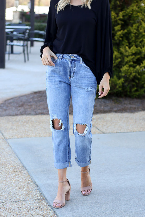 Medium Wash - High Rise Distressed Boyfriend Jeans from Dress Up