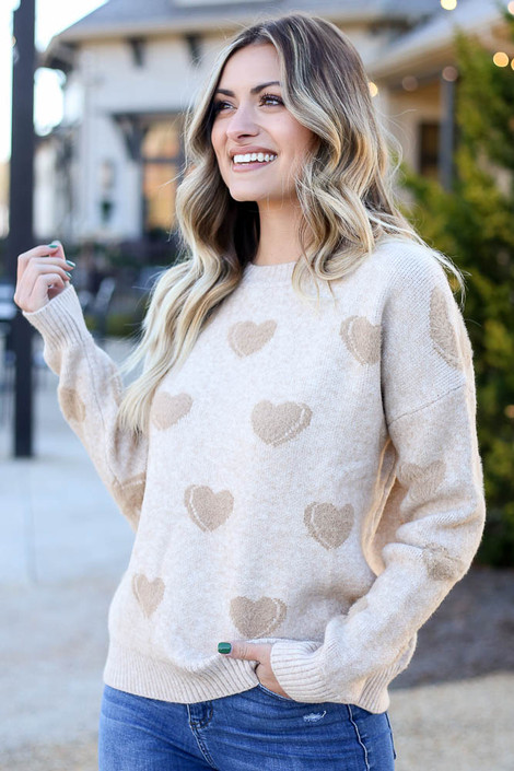 Taupe - Eyelash Knit Heart Sweater from Dress Up