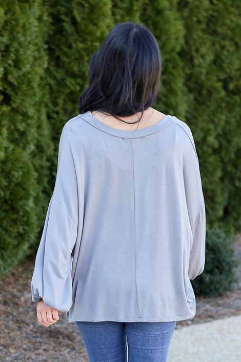 Charcoal - Back View of the Jersey Knit Balloon Sleeve Top