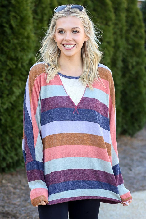 Multi - Striped Knit Top