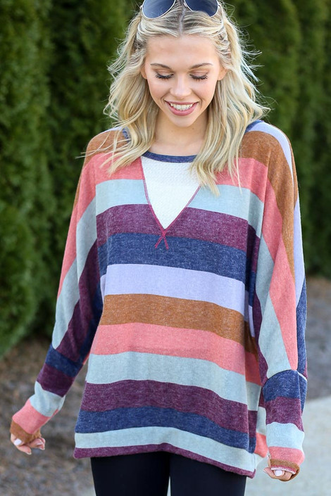 Model wearing the Striped Knit Top