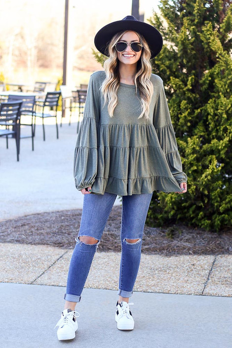 Olive - Ribbed Knit Tiered Babydoll Top from Dress Up