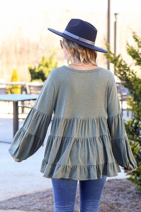 Ribbed Knit Tiered Babydoll Top Back View