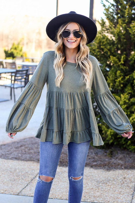 Model wearing the Ribbed Knit Tiered Babydoll Top