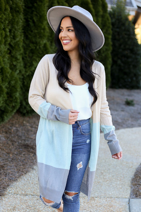 Taupe - Color Block Longline Cardigan