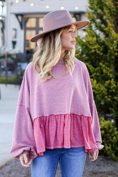 Pink - Fleece Lined Oversized Babydoll Sweater