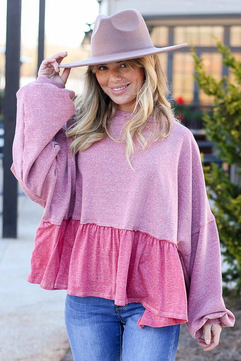 Pink - Fleece Lined Oversized Babydoll Sweater from Dress Up