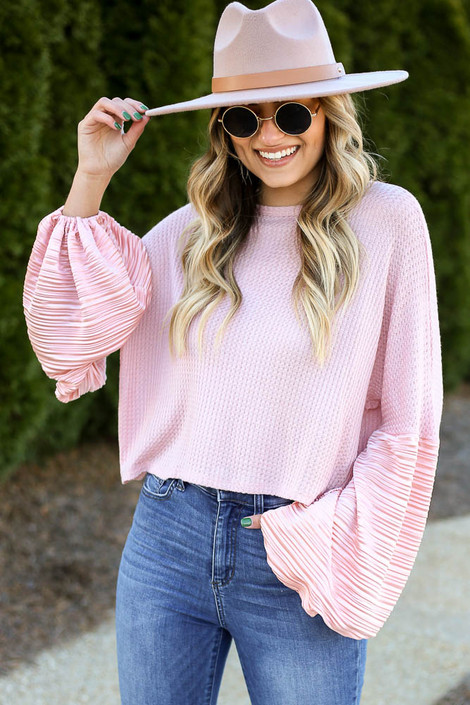 Peach - Balloon Sleeve Waffle Knit Top