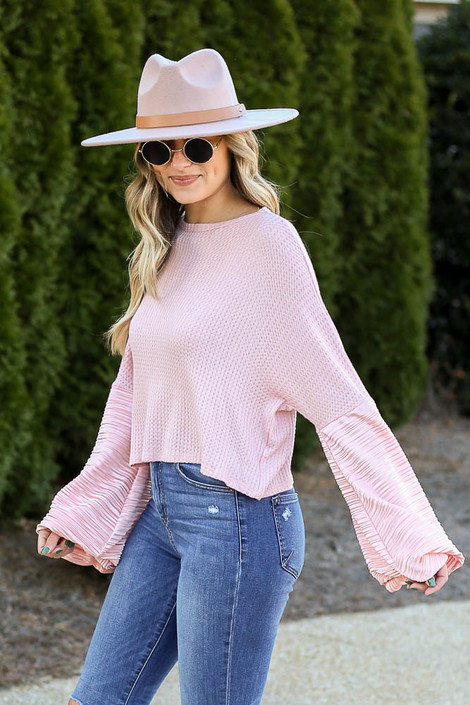 Peach - Balloon Sleeve Waffle Knit Top Side View
