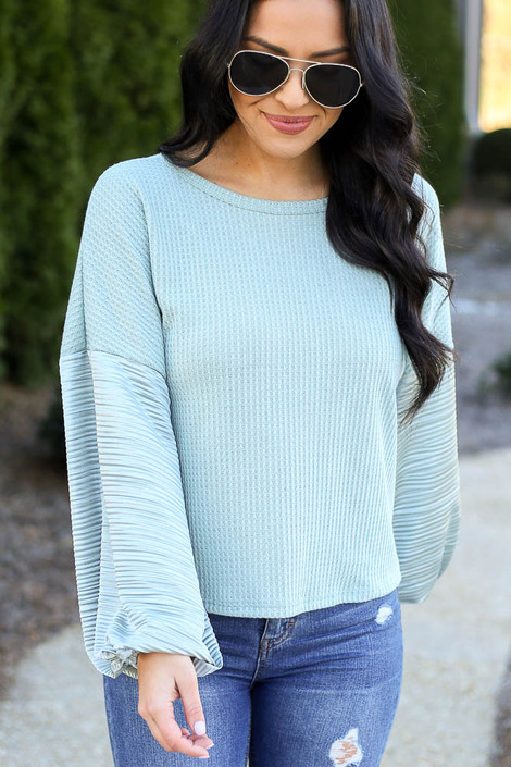 Sage - Model wearing the Balloon Sleeve Waffle Knit Top