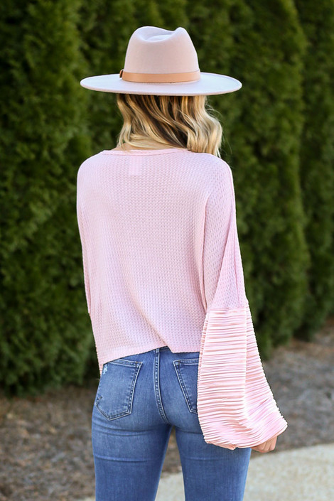 Balloon Sleeve Waffle Knit Top in Peach Back View