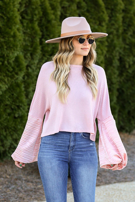 Balloon Sleeve Waffle Knit Top in Peach