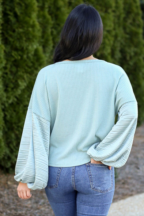 Balloon Sleeve Waffle Knit Top in Sage Back View
