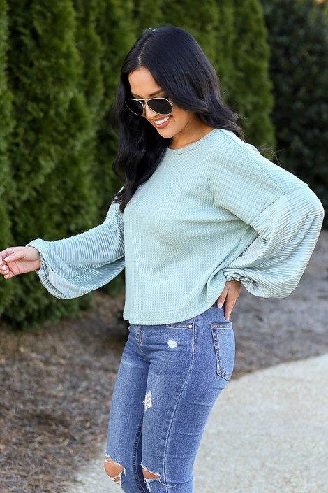 Balloon Sleeve Waffle Knit Top in Sage Side View