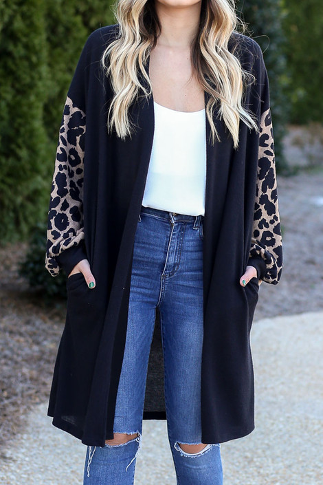 Black - Leopard Sleeve Longline Cardigan from Dress Up
