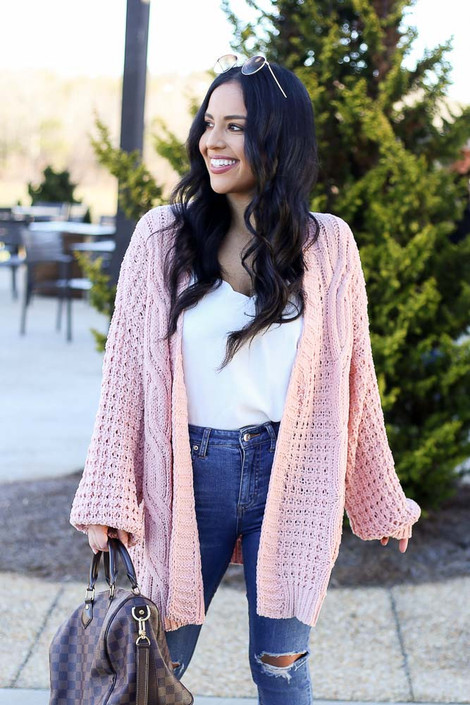 Blush - Cable Knit Chenille Cardigan