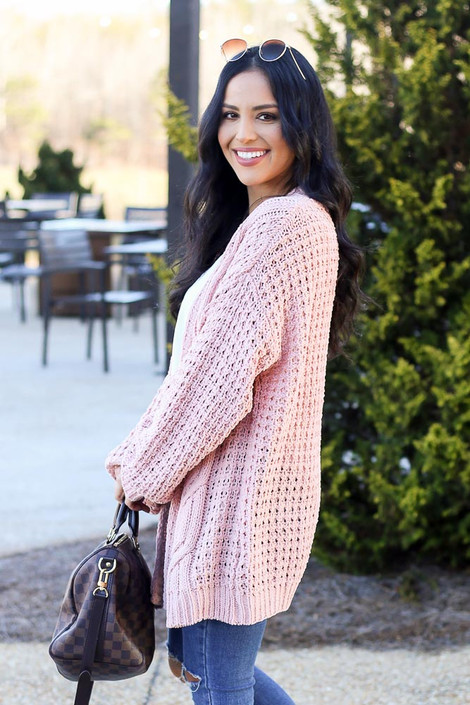 Blush - Cable Knit Chenille Cardigan Side View