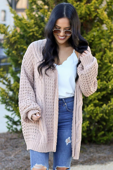 Taupe - Model wearing the Cable Knit Chenille Cardigan