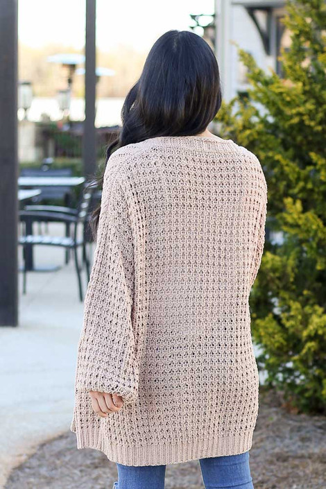 Taupe - Cable Knit Chenille Cardigan Back View