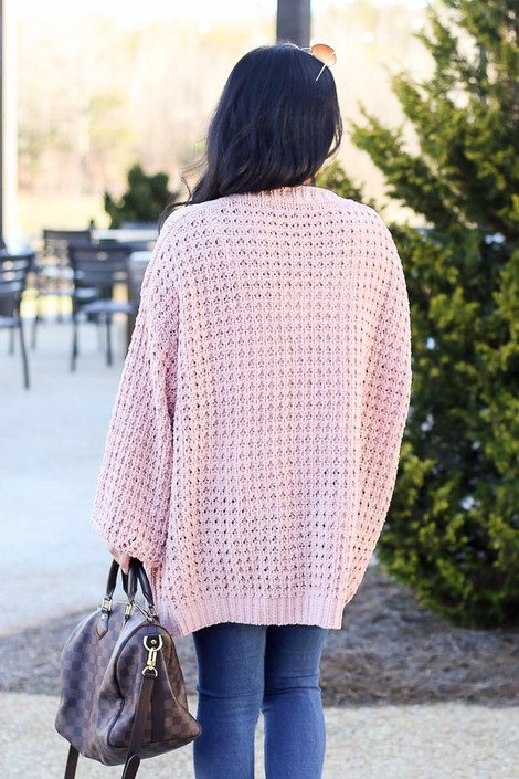 Cable Knit Chenille Cardigan in Blush Back View