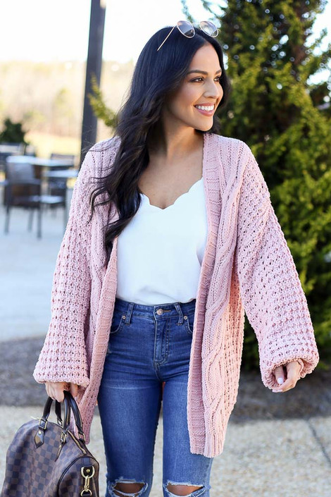 Model wearing the Cable Knit Chenille Cardigan in Blush