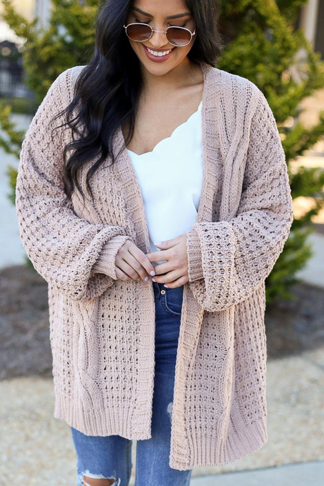 Close up of the Cable Knit Chenille Cardigan in Taupe