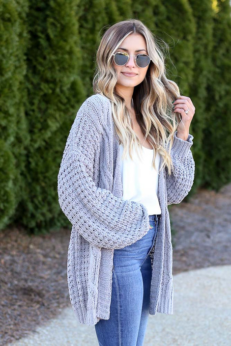 Grey - Cable Knit Chenille Cardigan from Dress Up