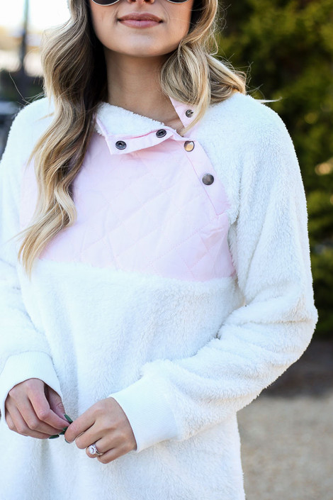 White - Color Block Asymmetrical Snap Up Pullover from Dress Up