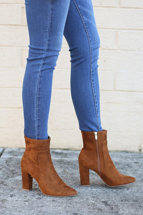 Camel - Block Heel Ankle Booties from Dress Up