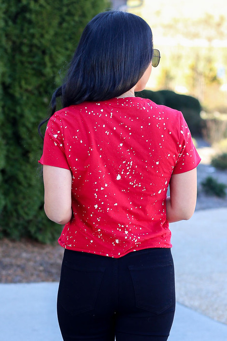 Model wearing the Red Georgia Acid Washed Graphic Tee in Small from Dress Up Back View