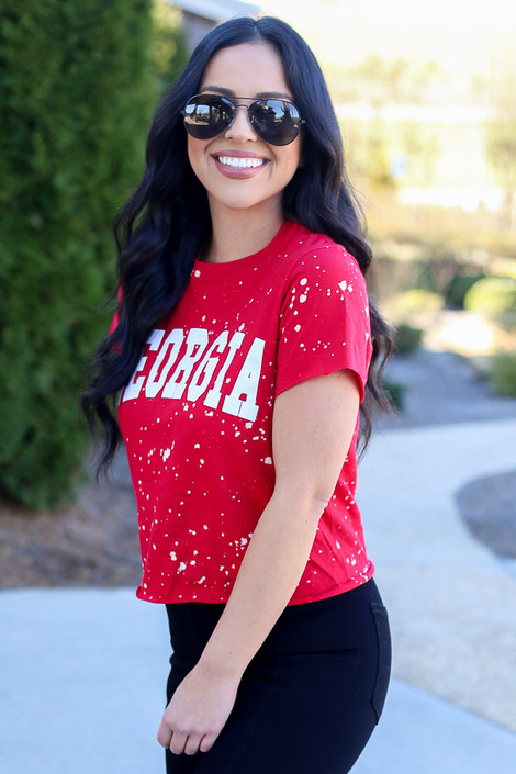Model wearing the Red Georgia Acid Washed Graphic Tee in Small from Dress Up Side View