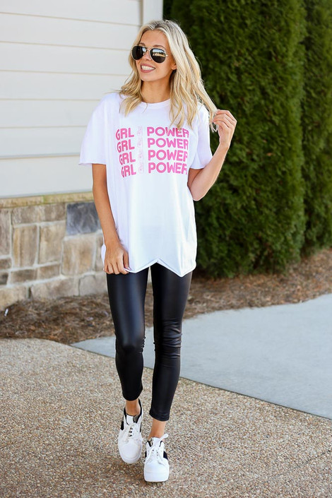 Model wearing the Girl Power Always Graphic Tee in Large with leggings Full Outfit Front View