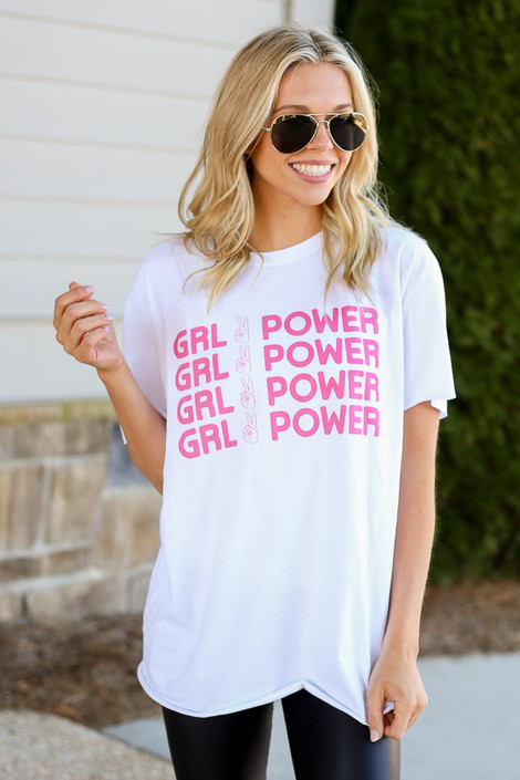 Model wearing the Girl Power Always Graphic Tee in Large with leggings Front View