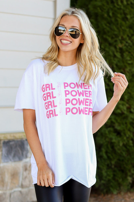 Model wearing the Girl Power Always Graphic Tee in Large Front View
