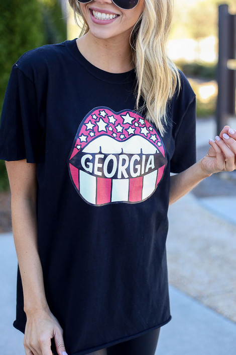 Model wearing the Black GA Star Girl Graphic Tee in Large Close Up View