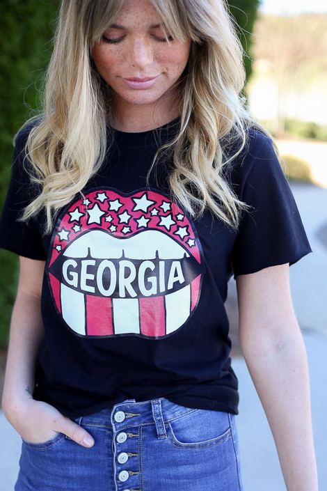 Model wearing the Black GA Star Girl Graphic Tee in Small with high rise skinny jeans Close Up View