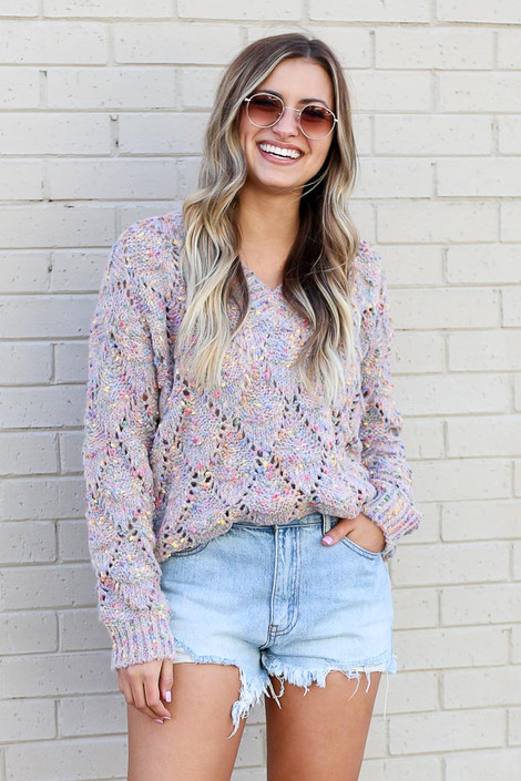 Dress Up model wearing the Rainbow Confetti Brushed Knit Sweater