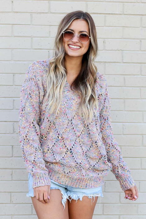 Multi - Rainbow Confetti Brushed Knit Sweater from Dress Up