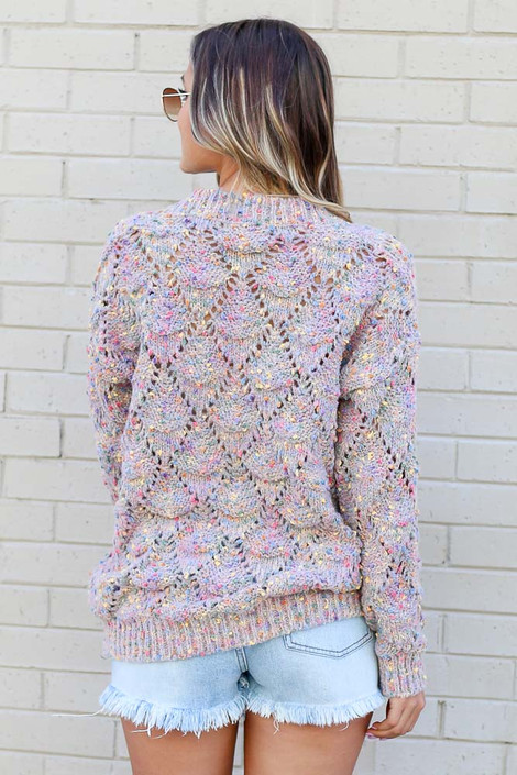 Rainbow Confetti Brushed Knit Sweater Back View