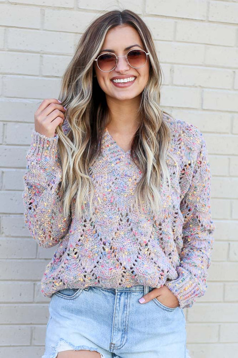 Model wearing the Rainbow Confetti Brushed Knit Sweater