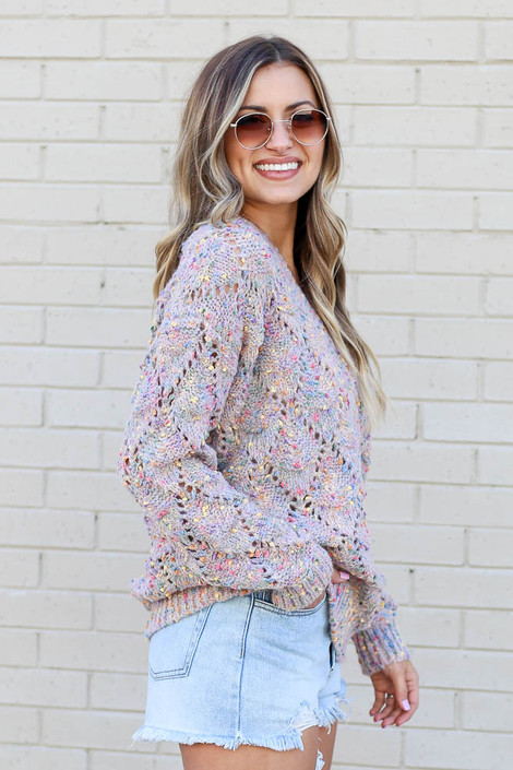 Rainbow Confetti Brushed Knit Sweater Side View