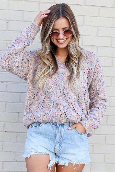 Multi - Rainbow Confetti Brushed Knit Sweater