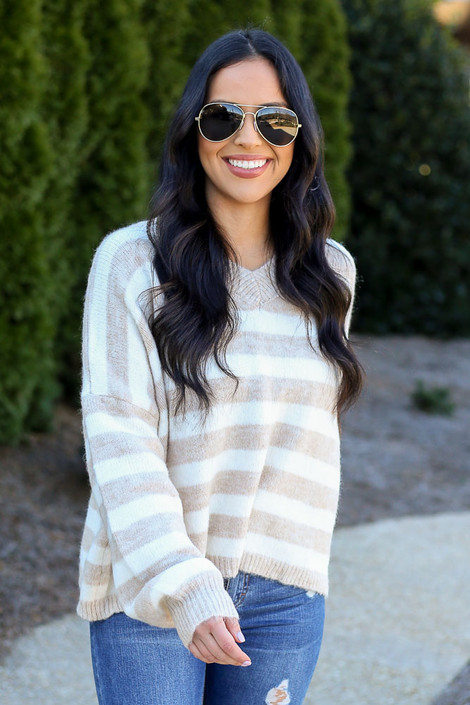 Model wearing the Striped Brushed Knit Sweater