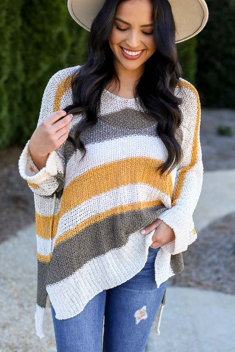 Mustard - Striped Loose Knit Oversized Sweater