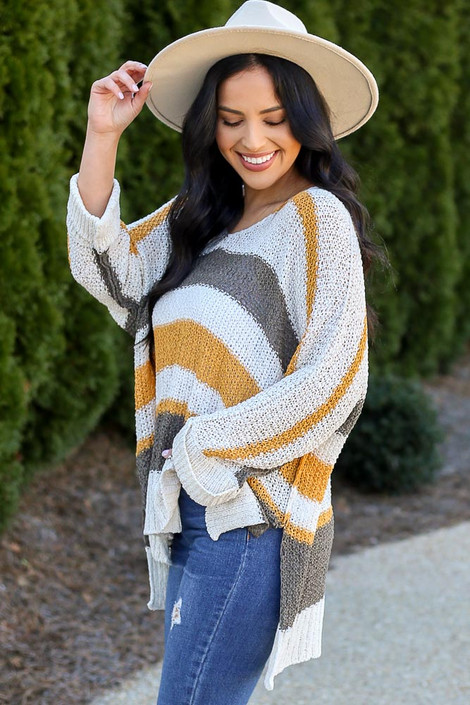 Mustard - Striped Loose Knit Oversized Sweater from Dress Up