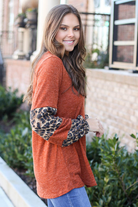 Rust - Statement Sleeve Lightweight Sweater from Dress Up